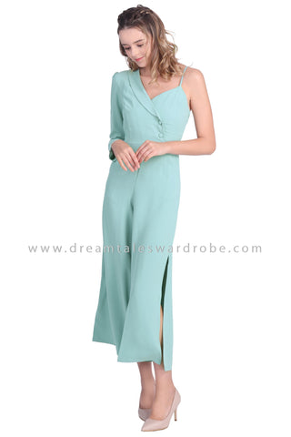 DT1644 Asymmetrical Shoulder Jumpsuit -  Green