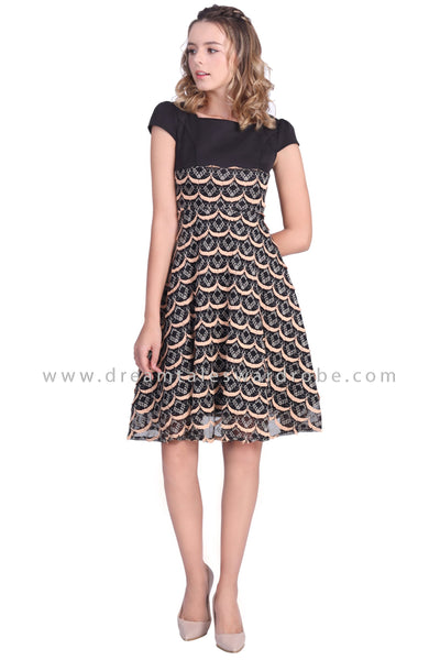 DT1645 Scallop Fit & Flare Dress -  Black