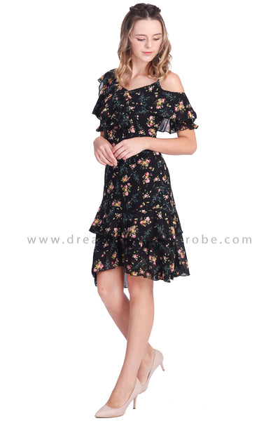 DT1648 Asymmetrical Shoulder Floral Dress -  Black