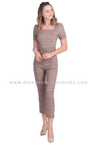 DT1649 Square Neck Checkered Jumpsuit -  Checkered
