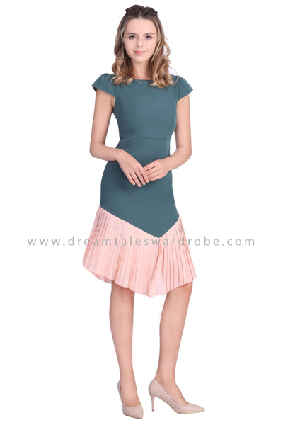 DT1653 Pleated Hem Fit and Flare Dress - Teal