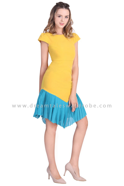 DT1653 Pleated Hem Fit and Flare Dress -  Yellow