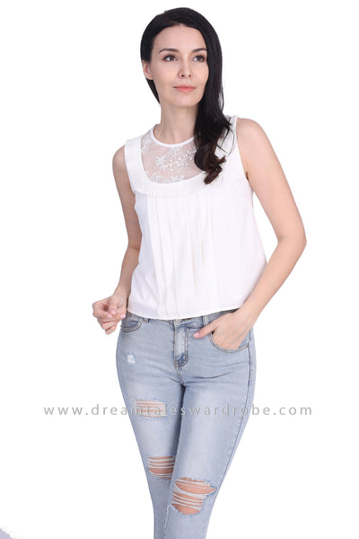 DT1668 Mesh Lace Sleeveless Top -  White