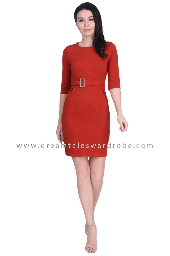 DT1671 Quarter Sleeves Belt Details Dress -  Rust Orange