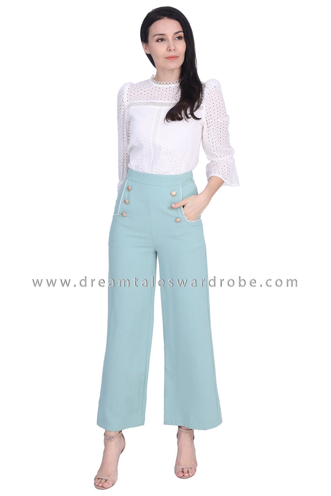 DT1672 Wide Leg Button Detail Trousers - Green