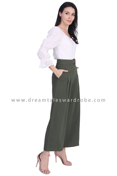 DT1678 Buckle Waist Darted Palazzo Pants - Green