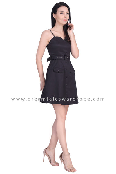 DT1679 Sweetheart Strappy Belted Dress - Black