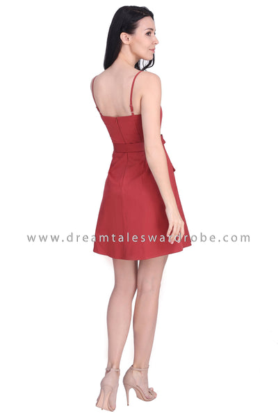 DT1679 Sweetheart Strappy Belted Dress - Rust Red