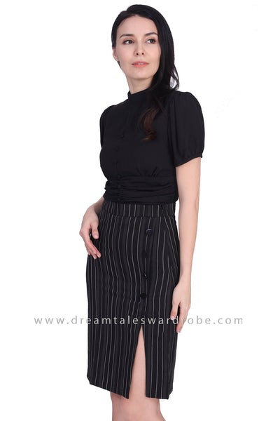 DT1684 Ruched High Neck Button Top - Black