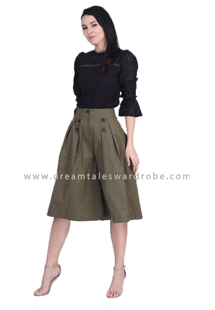DT1686 High Waist Pleated Culottes -  Green
