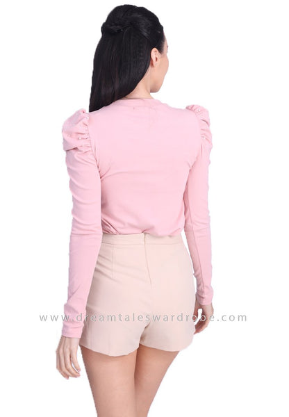 DT1689 Pearl Accent Ruched Sleeve Top - Pink