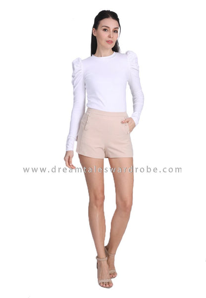 DT1689 Pearl Accent Ruched Sleeve Top -  White