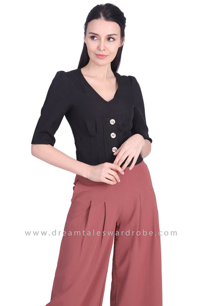 DT1701 Button Detail V-Neck Top - Black