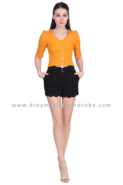 DT1701 Button Detail V-Neck Top - Yellow