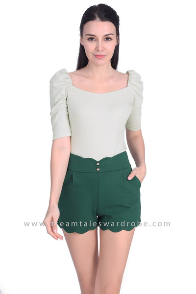 DT1702 Ruched Sleeve Sweet Heart Top - Pastel Green