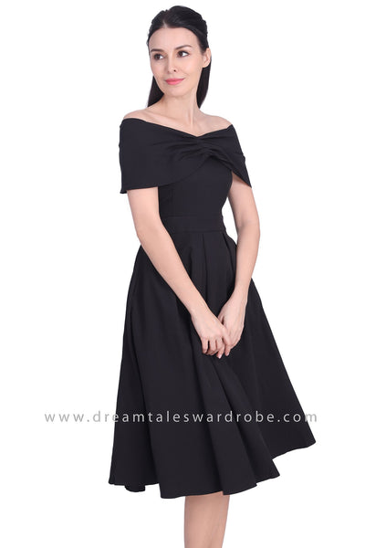 DT1715 Wide Bertha Collar Flared Dress - Black