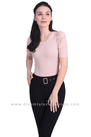 DT1718 Ruched Sleeve Knit Top - Pastel Pink
