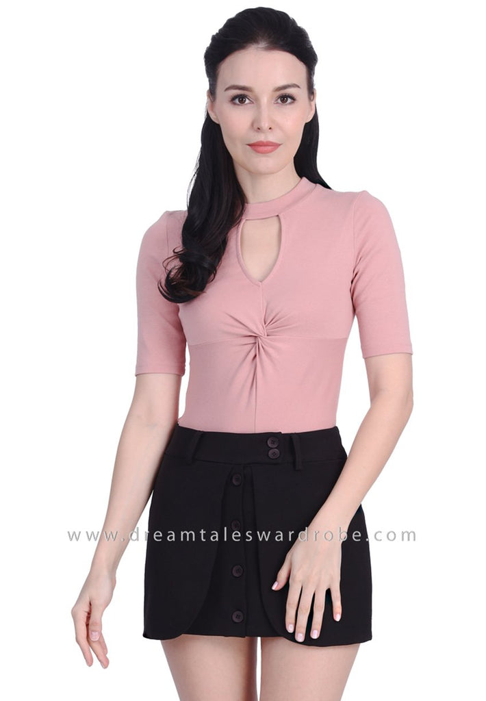 DT1721 Twist Detail Cut-out Top - Pink