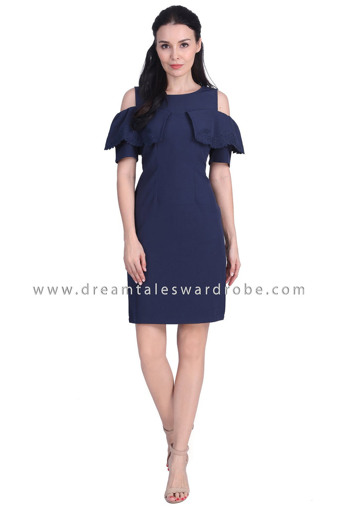 DT1723 Cape Style Cold Shoulder Dress - Blue