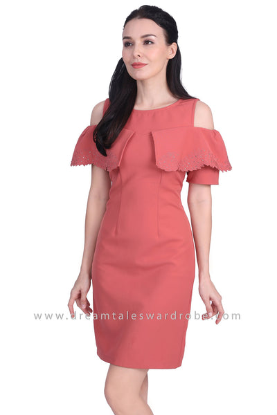 DT1723 Cape Style Cold Shoulder Dress -  Pink