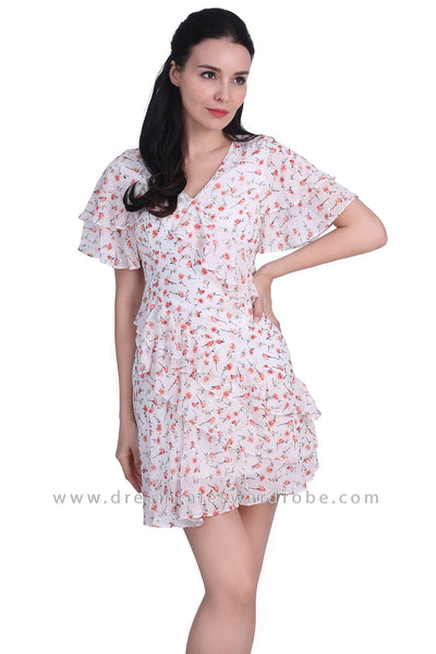 DT1727 Ruffle Statement Floral Dress -  White