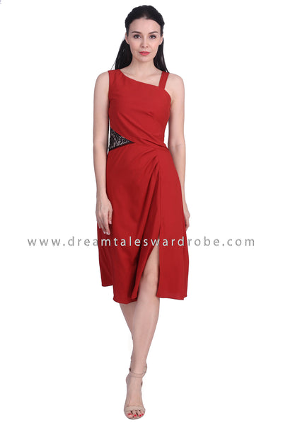 DT1728 Lace Detail Drape Style Dress - Rust Red