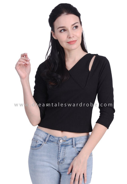 DT1729 Statement Asymmetrical Neck Quarter Sleeves Top - Black