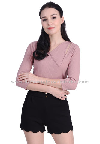 DT1729 Statement Asymmetrical Neck Quarter Sleeves Top - Pink