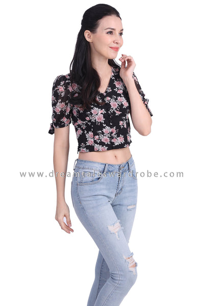 DT1739 Floral Puffy Sleeve Crop Top  - Black