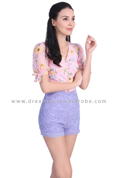DT1739 Floral Puffy Sleeve Crop Top  - Pink