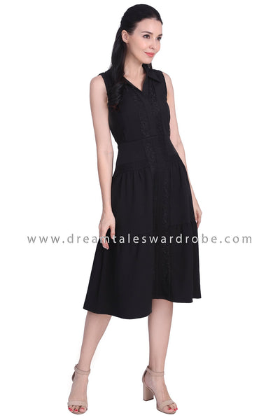 DT1740 Lace Panel Collared Midi Dress - Black