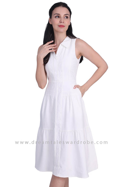 DT1740 Lace Panel Collared Midi Dress -  White