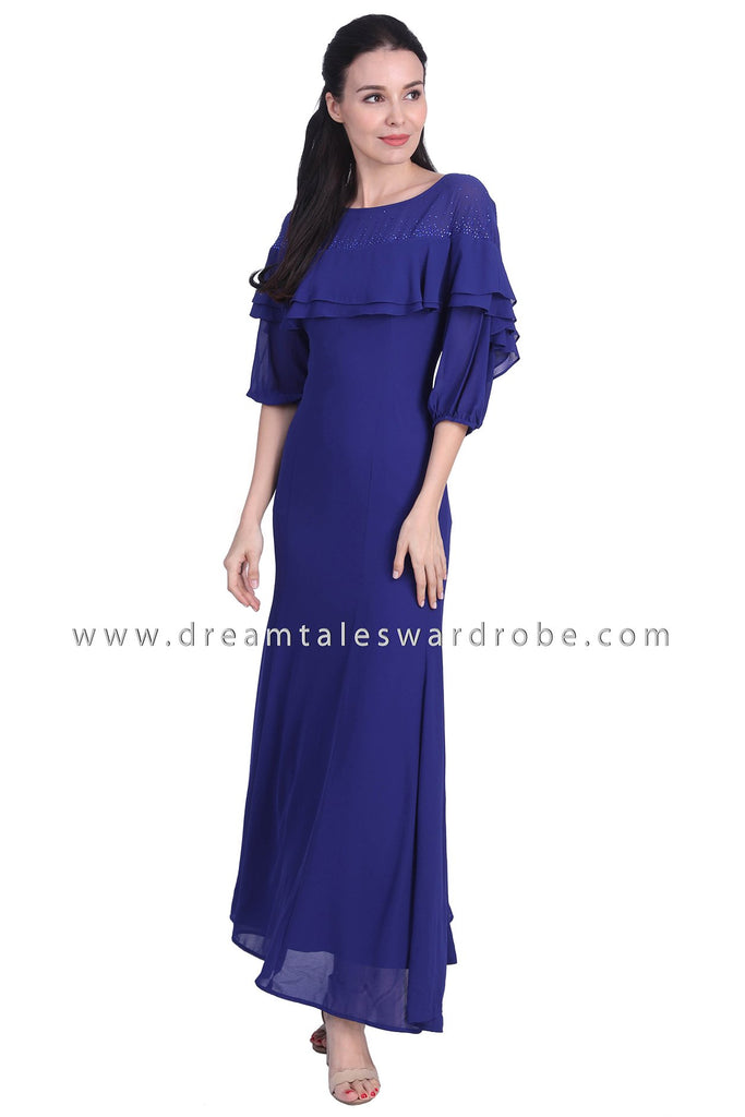DT1741 Tiered Cape Style Evening Gown -  Blue