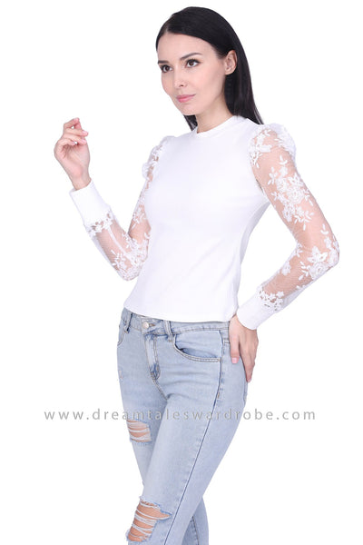 DT1746 Embroidered Sheer Long Sleeve Top -  White