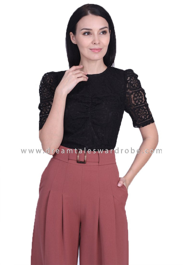 DT1747 Crochet Lace Statement Top - Black