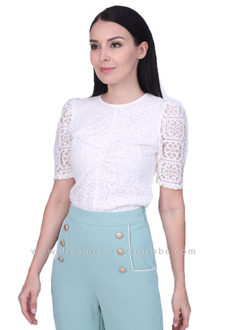DT1747 Crochet Lace Statement Top -  White