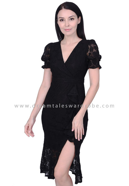 DT1754 Lace Statement Drape Midi Dress - Black