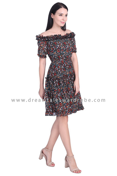 DT1759 Off-the-shoulder Ruffle Floral Dress - Black