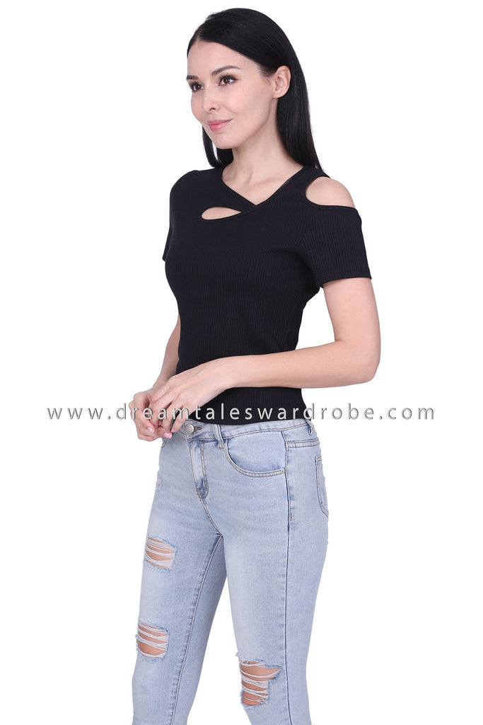 DT1761 Asymmetric Neck Cold Shoulder Top - Black