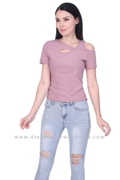 DT1761 Asymmetric Neck Cold Shoulder Top - Pink