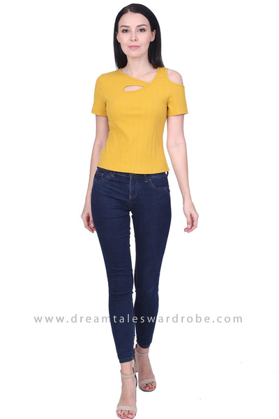 DT1761 Asymmetric Neck Cold Shoulder Top - Yellow