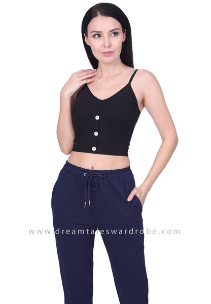 DT1763 V-Neck Crop Top - Black