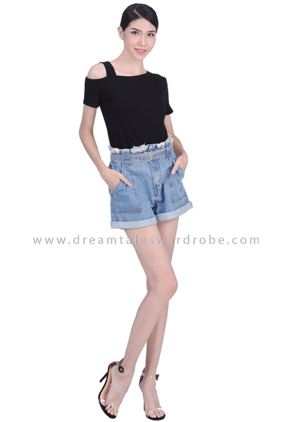 DT1768 Paperbag Denim Shorts -  Blue