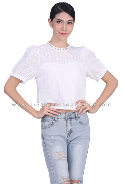 DT1769 Eyelet Lace Puffy Sleeve Top -  White