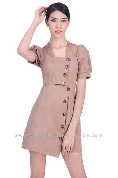 DT1772 Square Neck Button Front Dress - Khaki