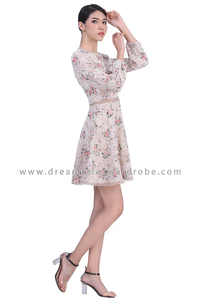 DT1773 Eyelet Lace Detail Floral Dress - Taupe