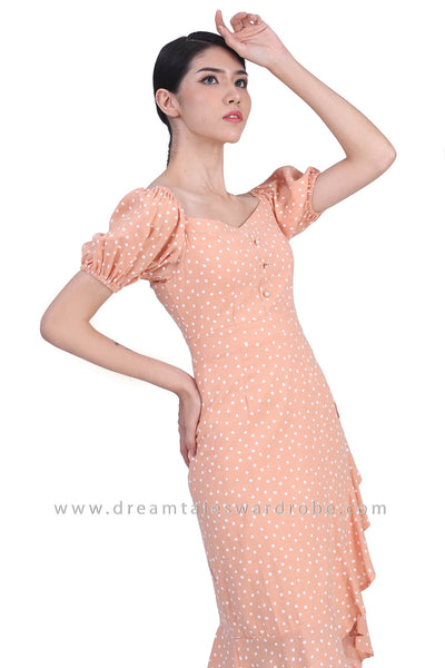 DT1774 Puffy Sleeve Ruffle Hem Milkmaid Dress - Orange