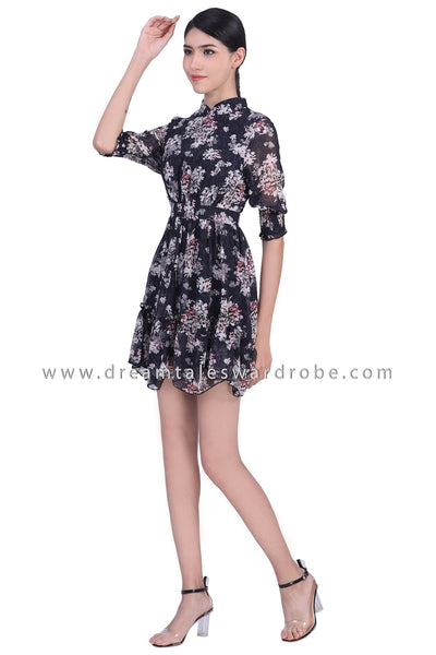 DT1782 Stand Collar Ruched Sleeve Dress - Black