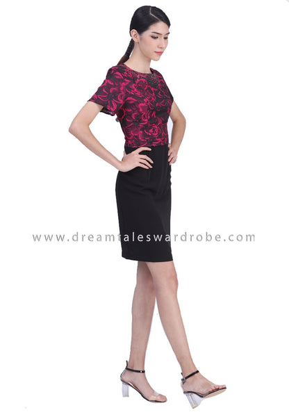 DT1783 Embelished Floral Contrast Dress -  Black