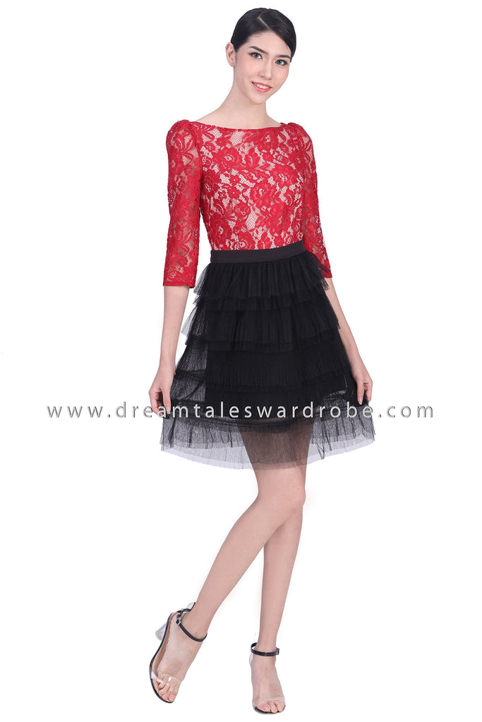 DT1785 Lace Tulle Dress - Red